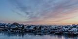 Village on the coast of the Lofoten Islands at dusk - 176513220