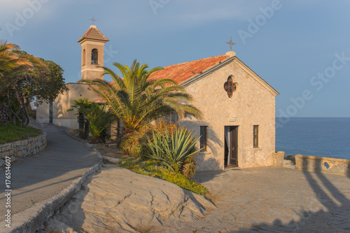 Deurstickers Liguria Italy, Bordighera, little church of Sant'Ampelio.,