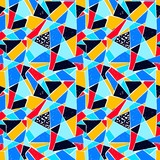 Mosaic pattern of broken tile. Seamless hand drawn  pattern with markers. Trending Memphis style. - 176515473