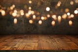 Old concrete wall with bokeh and wooden floor - 176515898