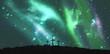 Cross religion symbol shape over sky with aurora borealis