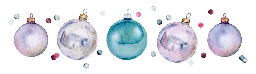 Set of watercolor Christmas glass balls and confetti. Нand-drawn Xmas or New Year decoration © Irina Violet