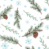 Seamless Pattern of Watercolor Fir Branches and Snow - 176524878