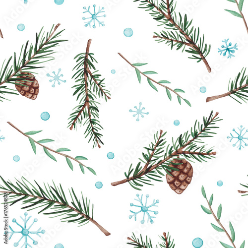 Materiał do szycia Seamless Pattern of Watercolor Fir Branches and Snow