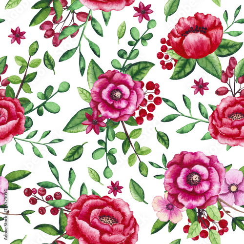 Seamless Pattern of Watercolor Flowers, Berries and Green Foliage - 176525054