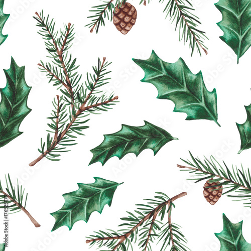 Materiał do szycia Seamless Pattern of Watercolor Holly Leaves and Fir Branches