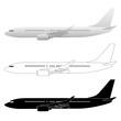 Commercial Airliner Passenger Jet Vector Illustrations
