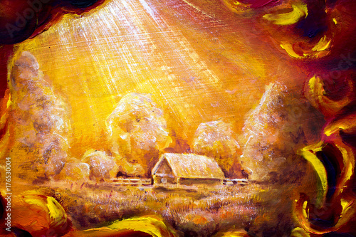 Rural landscape in an abstract frame, yellow landscape, rays from the sky, dream - original handmade paintin
