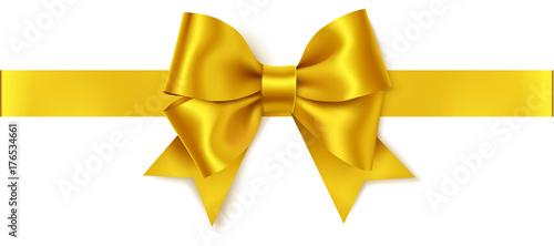 Piękny złoty łuk i poziome złote wstążki na białym tle. Ozdobny wektor żółty łuk
