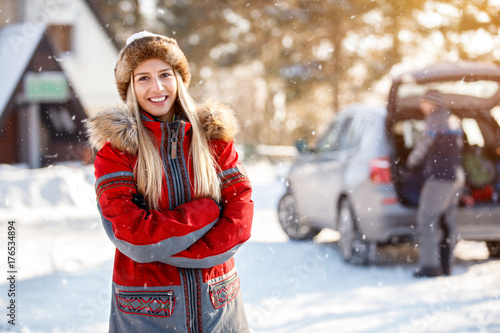 Woman's portrait on winter holiday outdoor