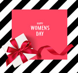 Women's day template with decorative gift box and long red ribbon. Vector illustration.  - 176535239