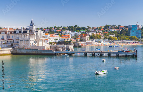 Seaside cityscape of Cascais in summer day Poster