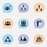 Set Of 9 Editable Community Icons. Includes Symbols Such As Staff Structure, Meeting, Corporate And More. Can Be Used For Web, Mobile, UI And Infographic Design. - 176536215