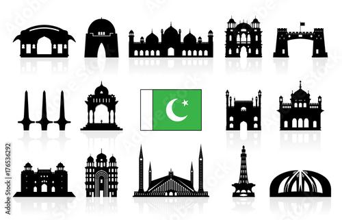 Pakistan Travel Landmarks icon set.