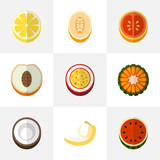 Set Of 9 Editable Dessert Flat Icons. Includes Symbols Such As Melon, Citrus, Watermelon And More. Can Be Used For Web, Mobile, UI And Infographic Design. - 176538227