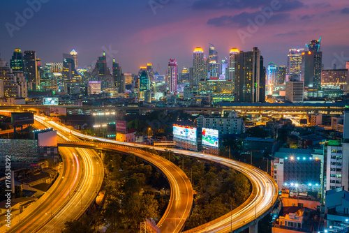 Aerial view of Bangkok building and Express ways Poster