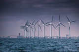 Wind turbines farm in Baltic Sea, Denmark - 176543871