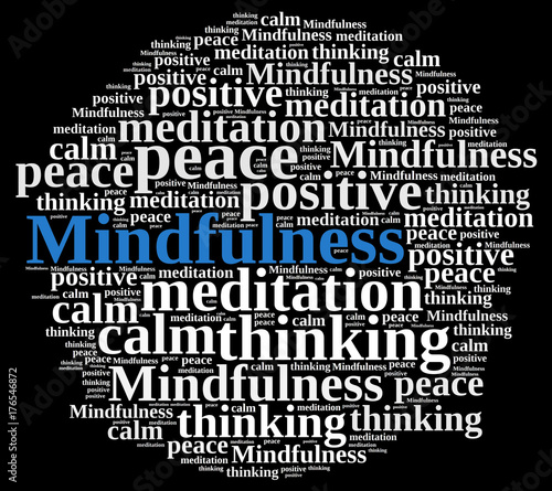 Naklejka Mindfulness concept illustration with word.