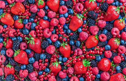 Berries overhead large closeup colorful assorted mix of strawbwerry, blueberry, raspberry, blackberry, red currant in studio on dark background in studio - 176558646