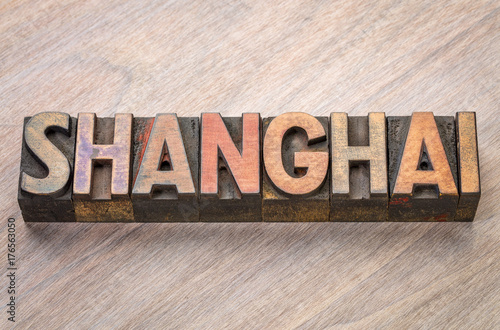 Shanghai, word abstract in wood type Poster