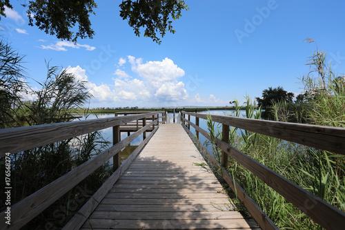 Plakat wood dock walkway in waterway