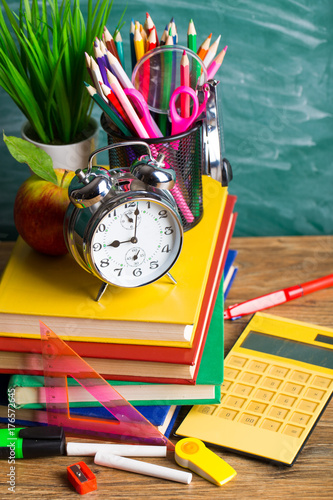 School supplies on the background of the school board - 176572645