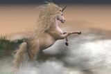 Misty Mountain Unicorn - Misty swirls of clouds surround a unicorn stag as he displays his strength and energy on a mountain slope. - 176579239
