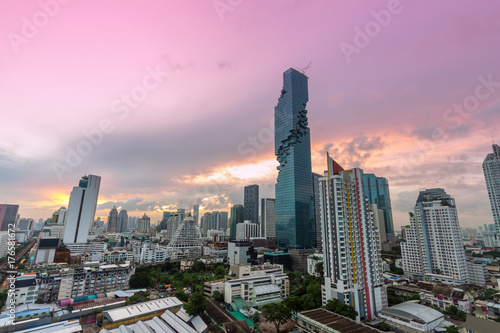 aerial view of skyscraper in Bangkok downtown, Thailand Poster