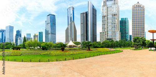 Shanghai lujiazui financial district commercial buildings and green park panoram Poster