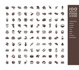100 healthy food icons for menus, infographics, design elements. Vector illustration - 176585858