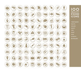 100 healthy food icons for menus, infographics, design elements. Vector illustration - 176585864