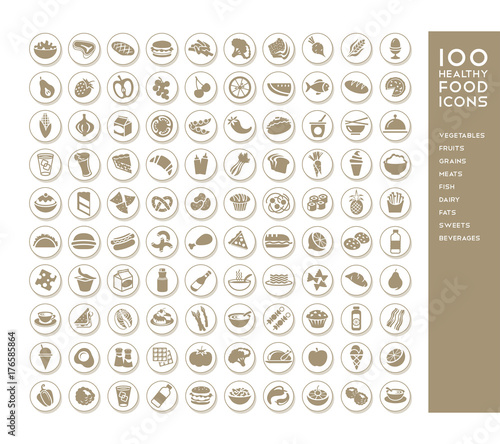 100 healthy food icons for menus, infographics, design elements. Vector illustration