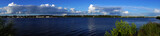 Kostroma. Afternoon on the embankment of the Volga river. Panorama/Summer, noon. Embankment in Kostroma. Golden ring of Russia. Water landscape, nature, panorama