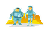 Two cosmonauts in the spacesuit., fat and thin. Shows the finger up. Happy and smiling. new planet. - 176595228