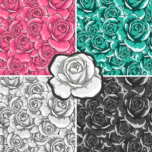 Flowers. Beautiful roses. Seamless patterns. Set.