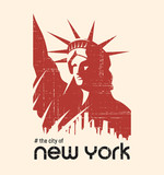 T-shirt and apparel vector design with the Statue of Liberty and New York skyline, print, typography, poster, emblem. - 176605425