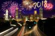 New Year 2018 over Atlanta, Georgia, USA