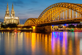 Cologne Cathedral and Hohenzollern Bridge at night, Germany - 176608249