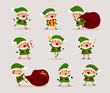 Set of cute playful Christmas elves. Collection of cute Santa Claus helpers. Happy New Year, Merry Xmas design element. Good for card, banner, flayer, leaflet, poster. Vector