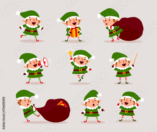 Set of cute playful Christmas elves. Collection of cute Santa Claus ...
