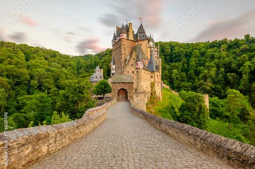 Burg Eltz castle in Rhineland-Palatinate at sunset Poster