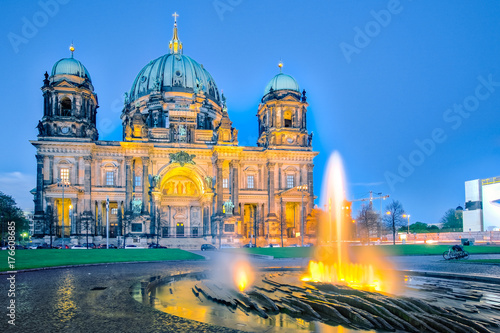 Night at Berlin Cathedral with fountain in Berlin city, Germany Poster