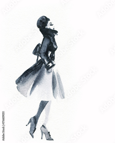 Fotobehang Anna I. Woman in coat. fashion illustration