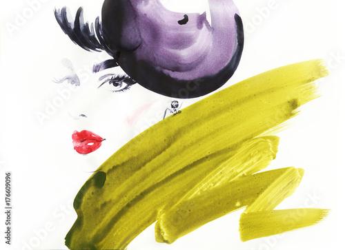 Beautiful woman with hat. fashion illustration - 176609096