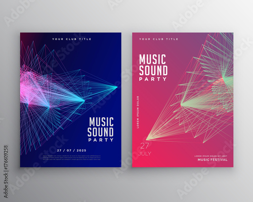 abstract music flyer template design with abstract lines mesh buy