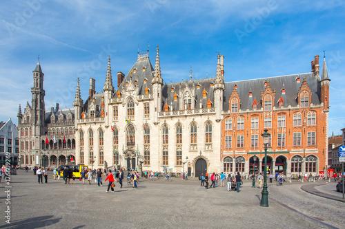 Deurstickers Brugge The Province Court in Market Square in Bruges, Belgium