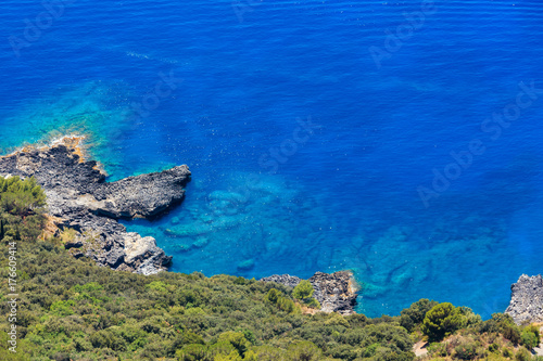 Tuinposter Donkerblauw Tyrrhenian sea coast, Italy
