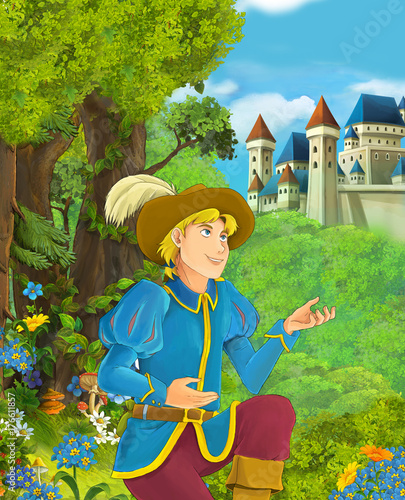 Foto op Aluminium Kasteel Cartoon scene of beautiful prince in the forest near castle in the background - illustration for children