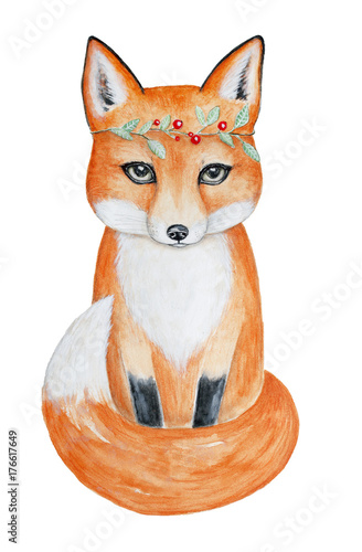 Cute fox in a head floral wreath. Hand drawn watercolor illustration, isolated on white background.  Sitting, full length, portrait. Can be used for postcard, fabric, invite, greeting card, book. - 176617649