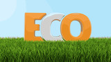 Eco text on grass. Image with clipping path - 176617866
